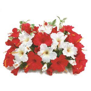 【フラワー装飾】島上装飾フラワーベース ハイビスカス2色 レッドホワイトイメージ