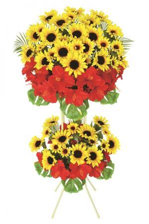 【フラワー装飾】祝い造花スタンド ひまわりハイビスカスイメージ
