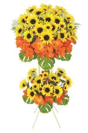 【フラワー装飾】開店祝い造花スタンド ひまわりハイビスカスイメージ