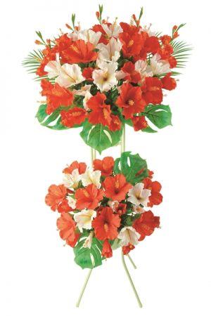 【フラワー装飾】開店祝い造花スタンド ハイビスカスイメージ