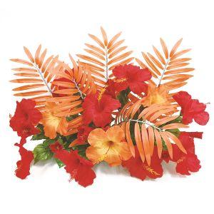 【フラワー装飾】フラワーベース オレンジヤシ&ハイビスカスレッドオレンジイメージ