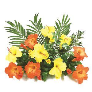 【フラワー装飾】フラワーベース(島上造花装飾) ヤシ&ハイビスカスイエローオレンジイメージ