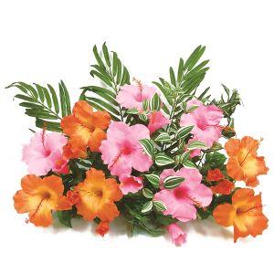 【フラワー装飾】フラワーベース(島上造花装飾) ヤシ&ハイビスカスピンクオレンジイメージ