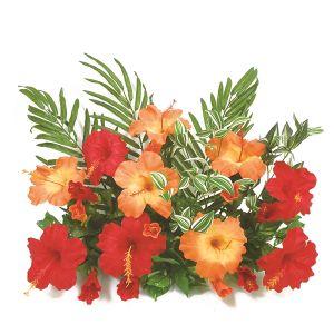 【フラワー装飾】フラワーベース(島上造花装飾) ヤシ&ハイビスカスオレンジレッドイメージ