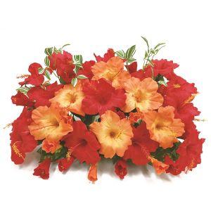 【フラワー装飾】島上フラワーベース ハイビスカス2色 レッドオレンジ イメージ