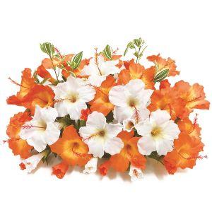 【フラワー装飾】島上装飾フラワーベース ハイビスカス2色 オレンジホワイトイメージ
