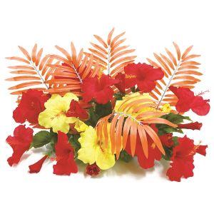 【フラワー装飾】フラワーベース オレンジヤシ&ハイビスカスレッドイエローイメージ