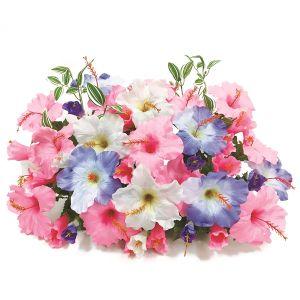 【フラワー装飾】島上フラワーベース ハイビスカス3色 ピンクブルーホワイトイメージ