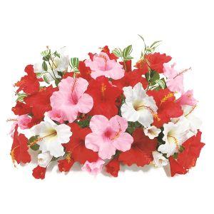 【フラワー装飾】島上フラワーベース ハイビスカス3色レッドピンクホワイトイメージ