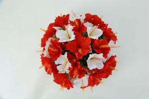 【フラワー装飾】フラワーアーチ・タワー ハイビスカス(レッド×ホワイト)イメージ