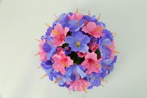 【フラワー装飾】フラワーアーチ・タワー ハイビスカス(ブルー×ピンク)イメージ