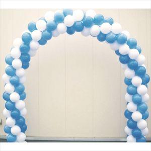 【バルーン装飾】バルーンアーチ シングルフレーム2色ストライプ 青×白イメージ