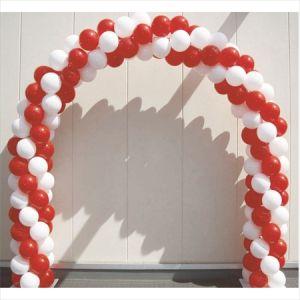 【バルーン装飾】バルーンアーチ シングルフレーム2色ストライプ 赤×白イメージ