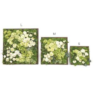 【フラワー装飾】壁面用ウッドフレームボード ホワイトグリーンアレンジSイメージ