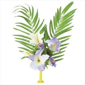 【フラワー装飾】島上フラワーホルダー装飾 ヤシ&ハイビスカス花束 ブルーホワイトイメージ