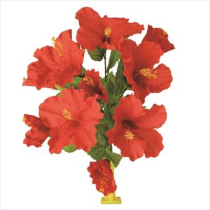【フラワー装飾】島上フラワーホルダー装飾 ハイビスカス花束 レッドイメージ