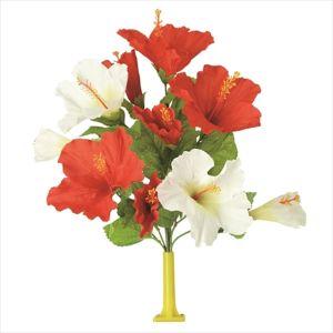 【フラワー装飾】島上フラワーホルダー装飾 ハイビスカス花束 レッドホワイトイメージ