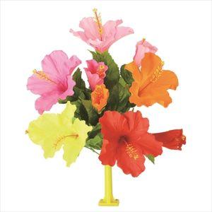 【フラワー装飾】島上フラワーホルダー装飾 ハイビスカス花束 オレンジイエローピンクビューティーレッドイメージ