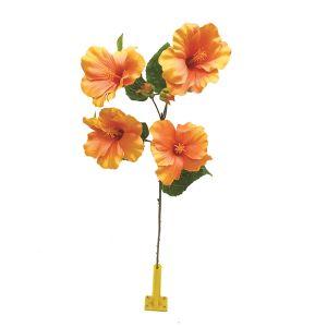 【フラワー装飾】島上フラワーホルダー装飾 ハワイアンハイビスカス オレンジイメージ