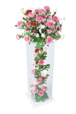 【フラワー装飾】アクリルボックスフラワー ローズピンクイメージ