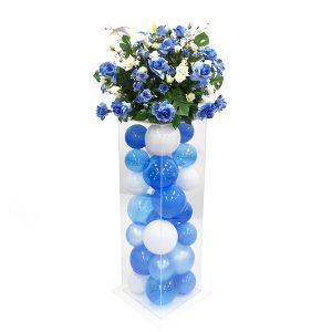 【フラワー装飾】アクリルボックスフラワー ローズブルー&バルーンイメージ