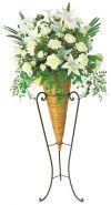 【フラワー装飾】デザインフラワースタンド ホワイトローズカサブランカ&ニューコーンスタンドイメージ