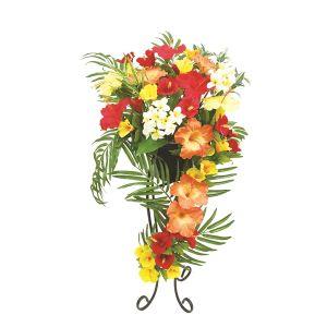 【フラワー装飾】デザインフラワースタンド ヤシ・ハイビスカスアレンジ&セクショナルスタンド90cmイメージ