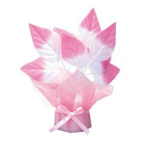 【冬装飾】ピンクリーフミニポット(12個セット)@126円イメージ