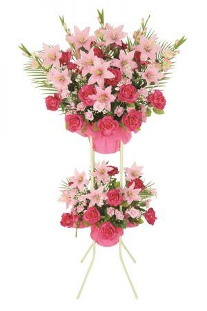 【フラワー装飾】2段造花スタンド オールシーズン ローズ&リリーイメージ