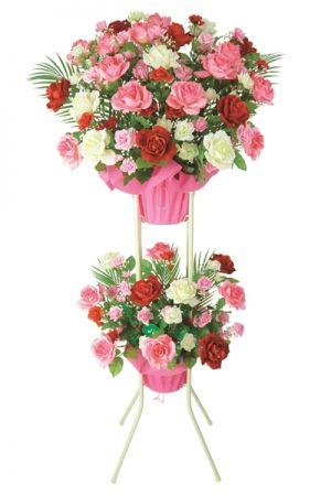 【フラワー装飾】2段祝い造花スタンド オールシーズン ローズピンクレッドホワイトイメージ