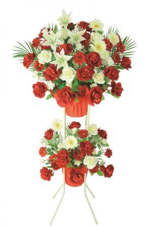 【フラワー装飾】祝い造花スタンド オールシーズン ローズガーベライメージ