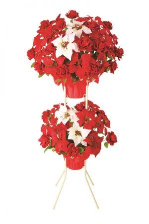 【フラワー装飾】開店祝い造花スタンド 冬 ポインセチアイメージ