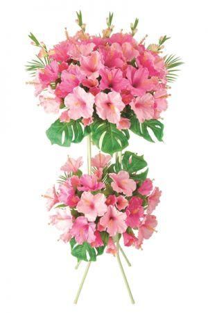 【フラワー装飾】2段祝い造花スタンド 夏 ハイビスカスイメージ