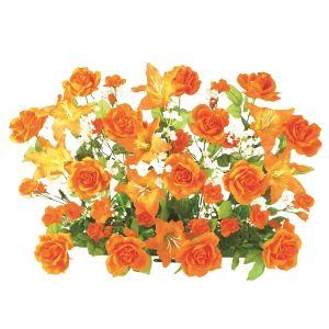 【フラワー装飾】フラワーベース ローズ&リリー オレンジイメージ
