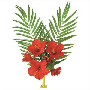 【フラワー装飾】島上フラワーホルダー装飾 ヤシ&ハイビスカス花束 レッドイメージ