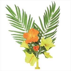 【フラワー装飾】島上フラワーホルダー装飾 ヤシ&ハイビスカス花束 イエローオレンジイメージ