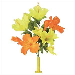 【フラワー装飾】島上フラワーホルダー装飾 ハイビスカス花束 イエローオレンジイメージ