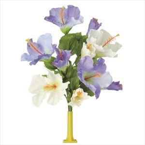 【フラワー装飾】島上フラワーホルダー装飾 ハイビスカス花束 ブルーホワイトイメージ