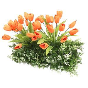【フラワー装飾】ドーム型ガーデンキット チューリップオレンジ&ハーブグリーンベースイメージ