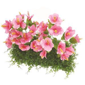 【フラワー装飾】ドーム型ガーデンキット ハイビスカスピンク&グリーンベースイメージ