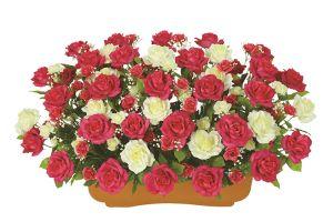 【フラワー装飾】造花プランター オープンローズ ビューティー(S~LL)イメージ