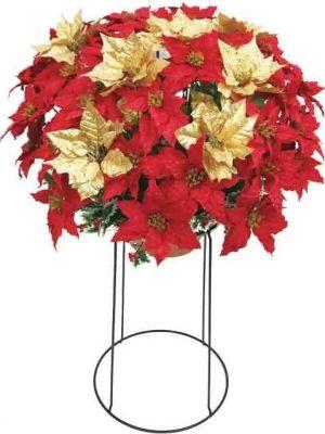 【フラワー装飾】丸プランター ポインセチアレッド&ゴールドイメージ