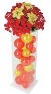 【フラワー装飾】 アクリルボックスフラワー ポインセチアレッドゴールド(バルーン)イメージ