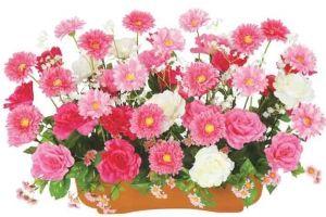 【新春フラワー装飾】 プランター ガーベラ&ジャンボローズピンクイメージ